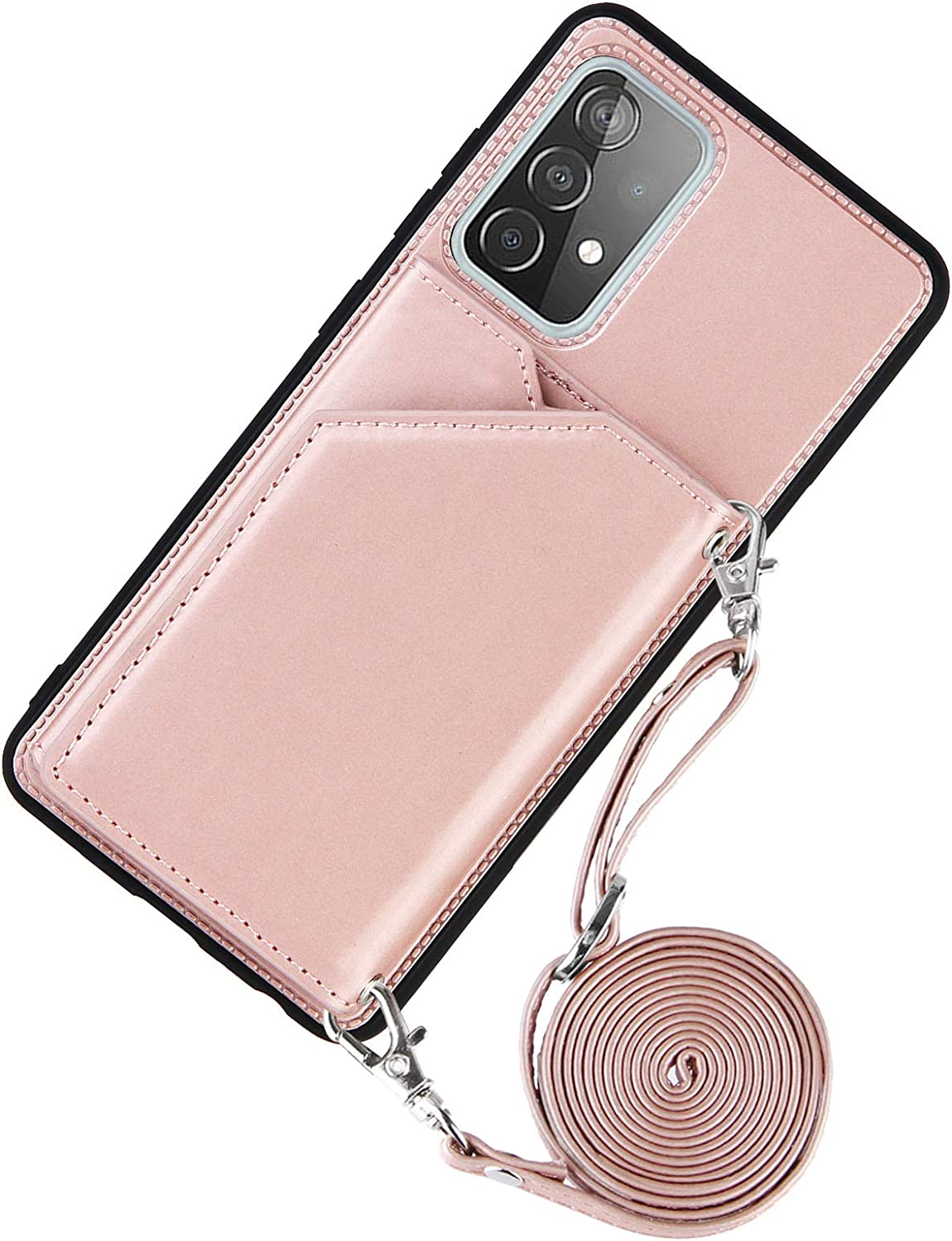 DAMONDY for Galaxy A52 Case,Leather Wallet Case with Lanyard Detachable Strap Designs for Girls Women,with Kickstand Card Slots CoverPhone Case for Samsung A52 5G -Rose Gold