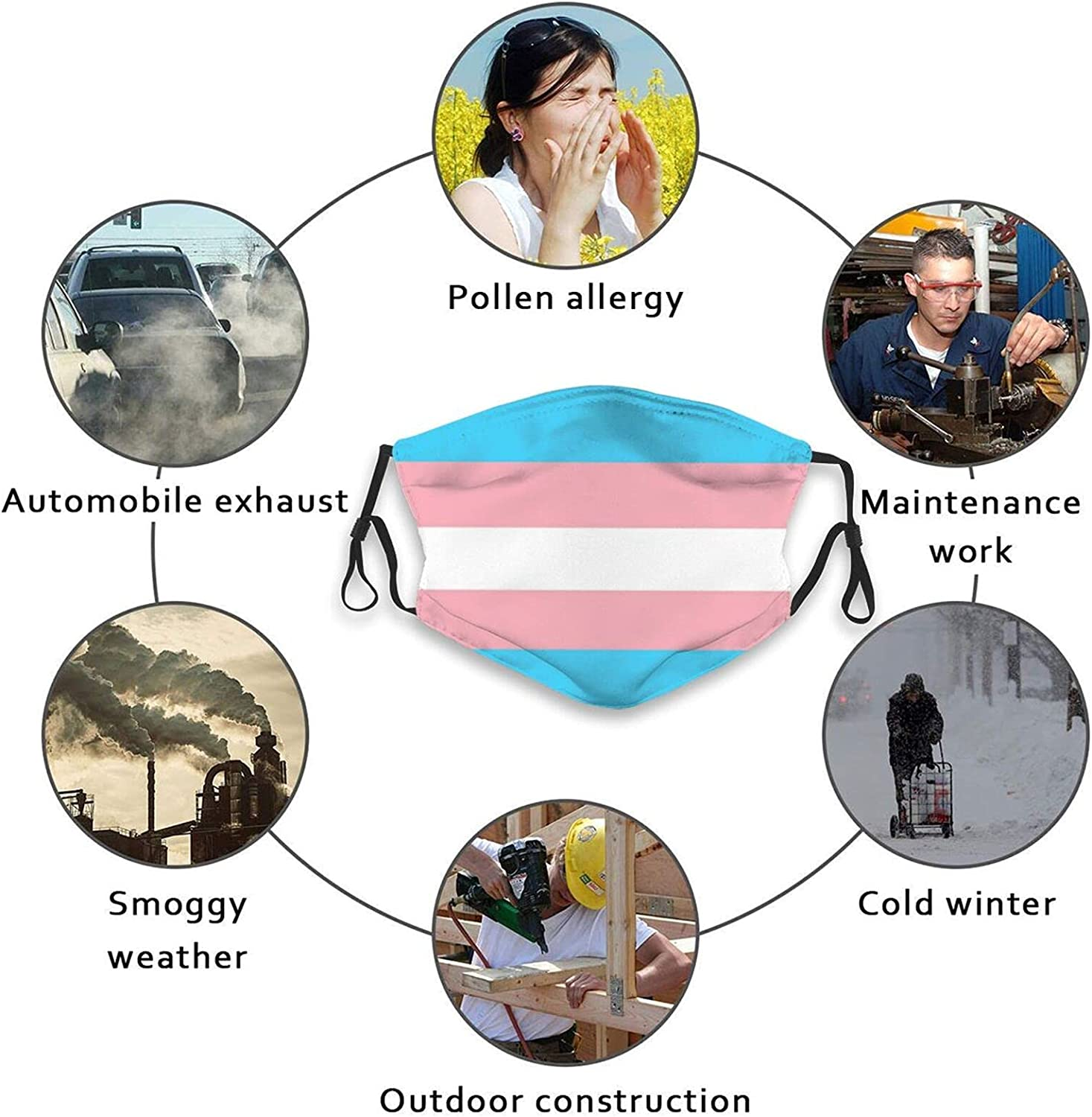 gmani Transgender Pride Flag Face Mask Washable Reusable Balaclava Bandana Mask with 2 Filters for Adult Men and Women