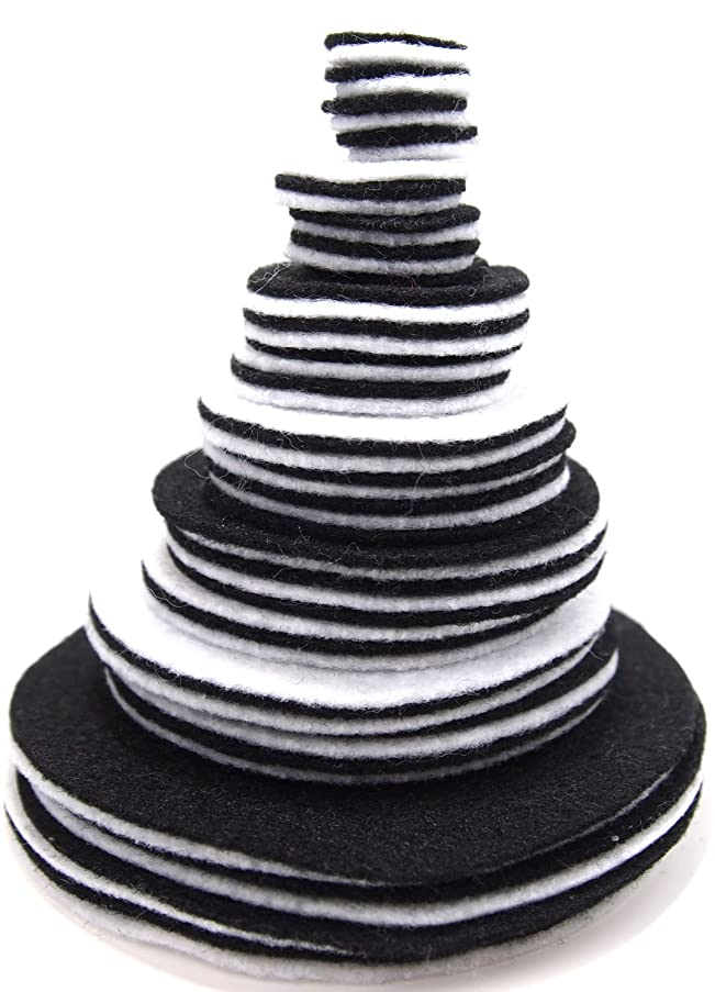 Playfully Ever After 3/4 to 4 Inch Assorted Sizes Felt Circles Color Combo Pack with Black and White (56pc)