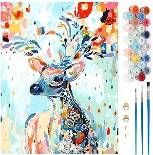 Wishstar Numéro d'Art, Peinture Numéro Cerf Fleur de Couleur DIY, Kits de Peinture au Numéro Loisir Creatif, Peinture par ...