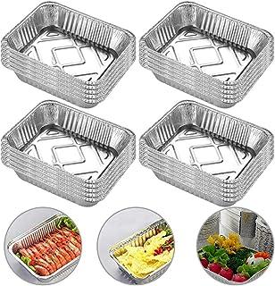 INTVN Lot de 20 barquettes en aluminium pour barbecue 700 ml 18,5 cm x 13,5 cm Idéal pour la cuisson, la cuisson et la cui...