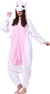Molly Rosa Kigurumi Einhorn Strampler erwachsenes Halloween Kost/üm Tier Pyjama mit Kapuze Donkey Xl