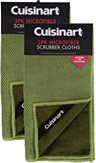 """Cuisinart Multi-Purpose Microfiber Scrubber, 12x12"""", Durable Dual Purpose Absorbent Dishcloth with Scouring Scrubber, 6pk (Sage) - Use Wet to Scrub or Dry to Dust - No Scratch Fabric"""