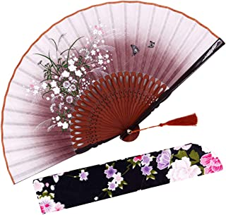 "Amajiji 8.27"" Beautiful Hand-Crafted Chinese Japanese Hand held Folding Fan with.."