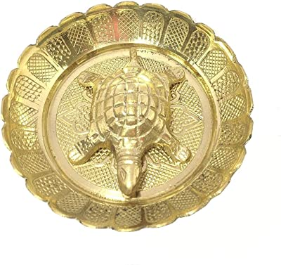 Metal Brass Tortoise with Plate for Wealth, Good Luck Feng Shui Gift Item for Vaastu Home Décor (Size-5cm)