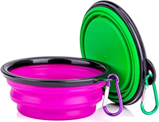 IDEGG Portable Collapsible Silicone Pet Dog Bowl, Foldable Expandable Water Feeding Travel Bowl Cup Dish for Pet Dog Cat