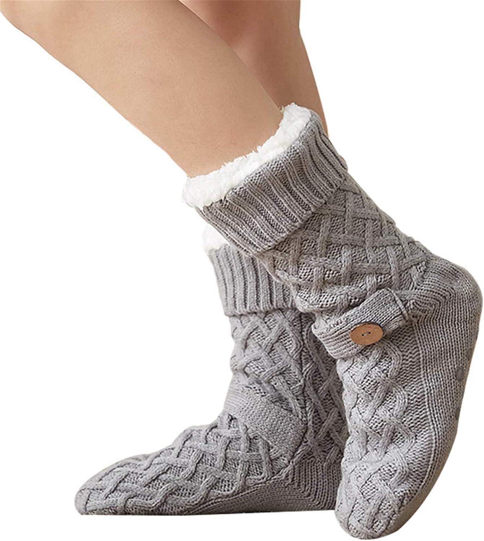 Wodecasa Women Fuzzy Slipper Socks Knit Cozy Warm Fleece-lined Socks with Grippers Girls Christmas Gifts