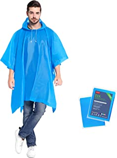 ANTVEE Reusable Rain Ponchos 2 Packs for Adults with Drawstring Hood, 0.15mm Durable and Lightweight, EVA Material Non-Tox...
