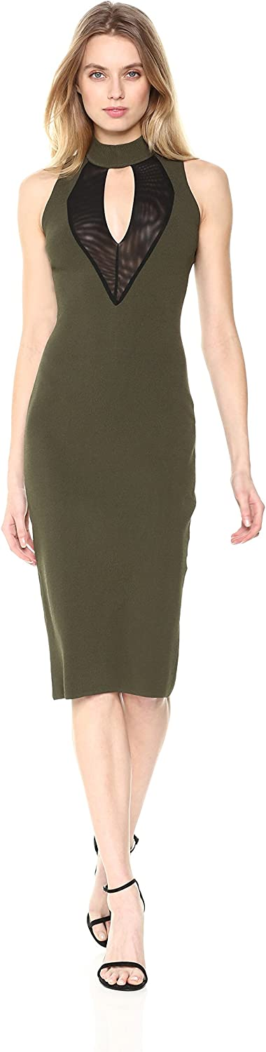 Rachel Roy Womens High Neck Mesh Front Midi Knit Dress Cocktail Dress
