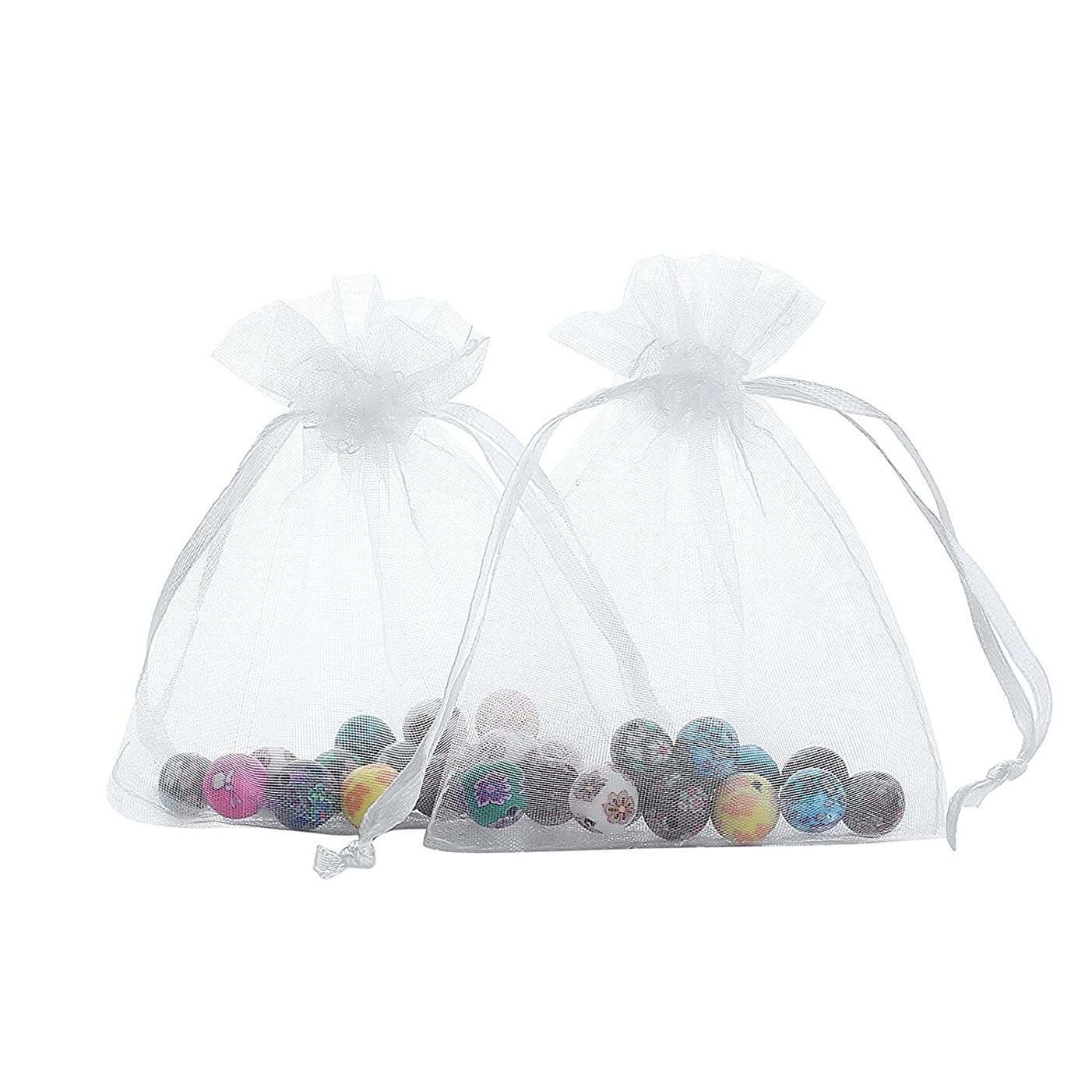 Ankirol 50pcs Large Sheer Organza Favor Bags 6.6x9'' Jewelry Candy Gift Bags Mini Bottle Wine Bags Samples Display Drawstring Pouches (White)