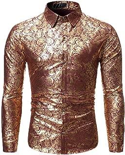 Slim Fit Shirt Men Floral Colorful Gentleman Dress Shirts Long Sleeve Casual Button Down Retro Lapel Tops