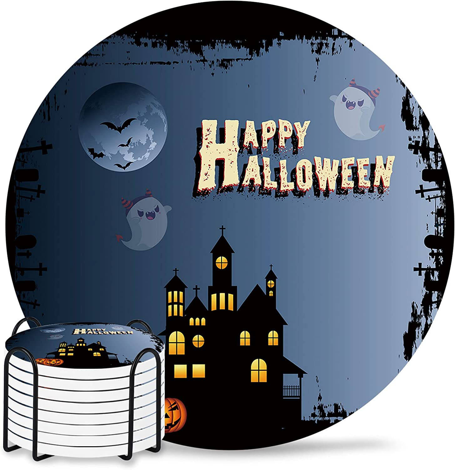 Halloween Coasters Round Brand new Drinks Absorbent El Paso Mall Set with Cera Coaster