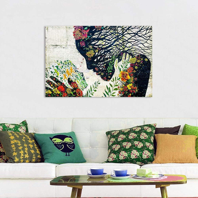 orden en línea ZJMI ZJMI ZJMI Pintura Decorativa Arte Graffiti Pintura Mural Foto Lienzo Mujer Imprimir Flores para la decoración del hogar Decoración de Parojo sin marco-60×90cm  contador genuino
