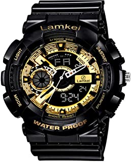 Lamkei GBS-1 Black Dial Black Silicone Strap Analogue Digital Watch for Men