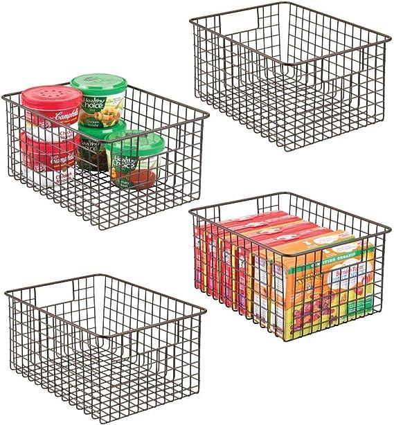 mDesign Farmhouse Decor Metal Wire Food Storage Organizer Bin Basket with Handles
