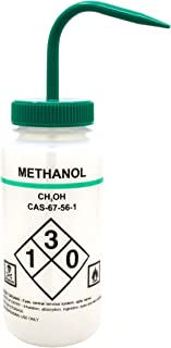 500ml Capacity Labelled Wash Bottle for Methanol - Color Coded Green - Self Venting, Low Density Polyethylene - Eisco Labs