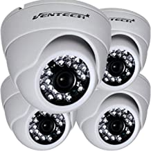 VENTECH 4 Pack CCTV Security Dome Camera Color 1000tvl 960H Analog CMOS 24 led IR-Cut Night Vision Infrared Home Surveillance 3.6mm Lens Indoor 12v Audio