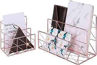 Simmer Stone 2 in 1 Mail Sorter, Desktop Wire Holder for Letters Mails Books Files Brochures Postcards Makeups, 2 Slot, Rose Gold