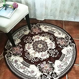 Hihome Round Area Rugs for Swivel Chair 3 ft Round Area Rug Indoor Round Floral Rug(Round 3', Brown R90)