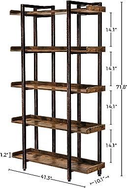 "Rolanstar Bookshelf 5-Tier, Open Etagere Bookcase, 71.8''H x 41.3""L Freestanding Bookshelves for Storage and Display, Wood Ru"