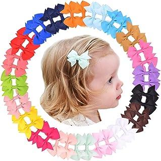 40 lazos de grogrén de color sólido de 2,5 pulgadas para el pelo, para adolescentes, niños, niños y niñas grandes