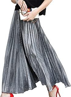 Lrady Women's Metallic Shiny Shimmer Accordion Pleated Party Long Maxi Skirt