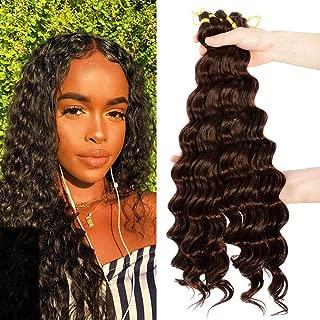 Deep Wave Crochet Hair 6 Pack 20 inches Light Brown Bohemian Synthetic Short Hair Styles for Women Kanekalon Braiding Hair Extensions 4#