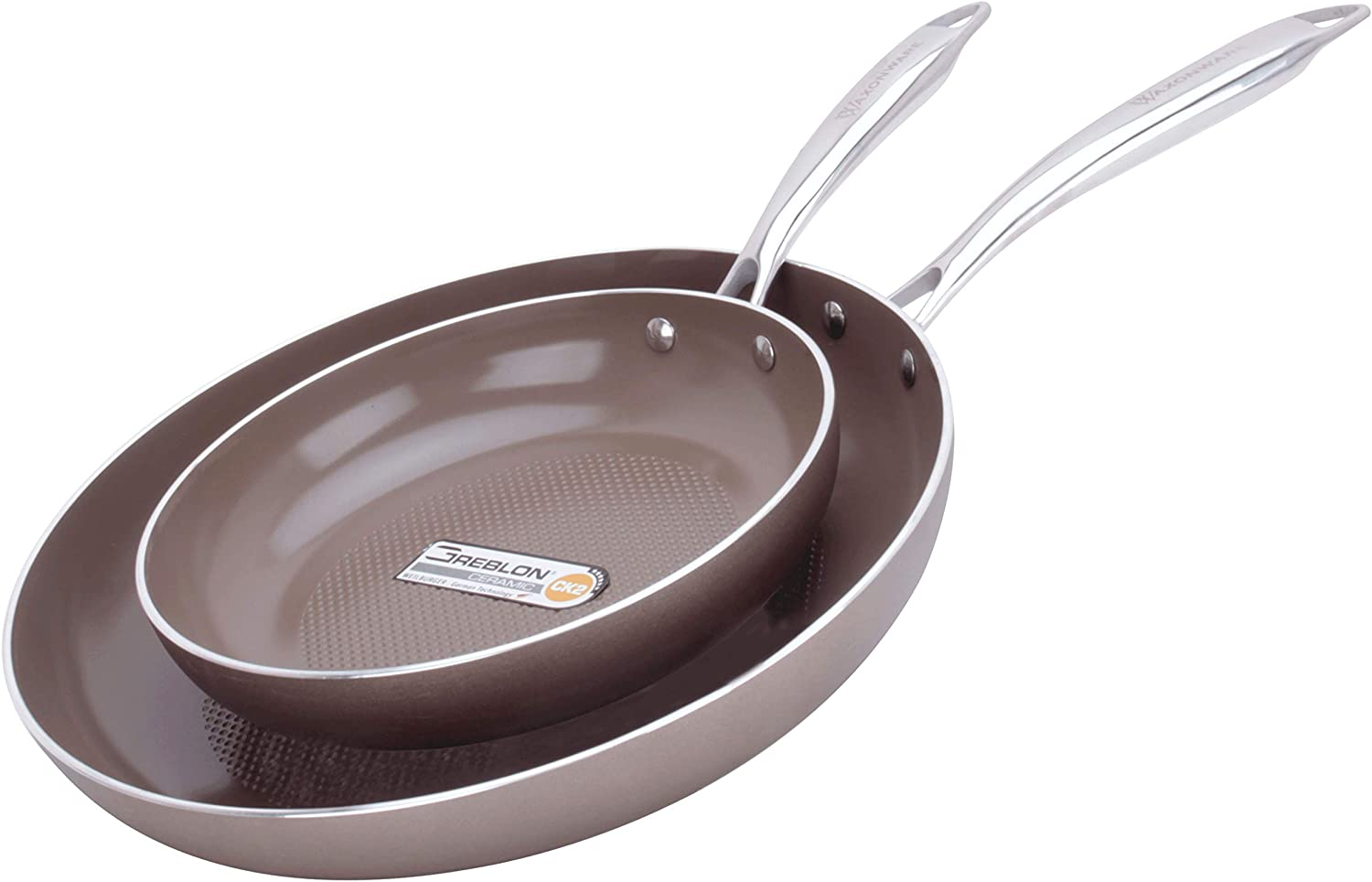 WaxonWare 8.5 & 12 Inch Ceramic Nonstick Frying Pans, Non Toxic PTFE APEO PFOA Free Nonstick Skillets, Induction Compatible, Dishwasher & Oven Safe Omelette Fry Pan With German Coating (HIVE Series)