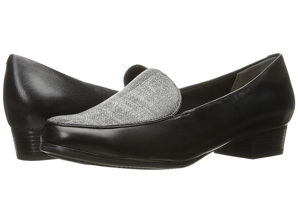 Trotters Monarch (Black/Black/White Linen) Women
