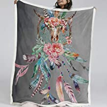 BlessLiving Cow Skull Decorative Throw Blanket Dream Catcher Feathers Roses Fleece Blanket Sherpa Bed Blanket (Throw, 50 x 60 Inches, Grey)