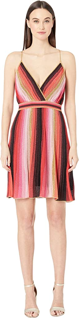 Spagetti Strap Verticle Stripe Short Dress