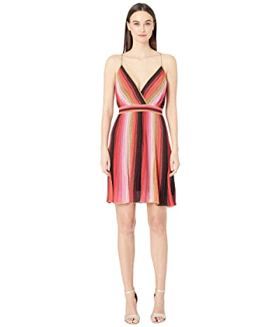 M Missoni Spaghetti Strap Vertical Stripe Short Dress (Red/Black) Women