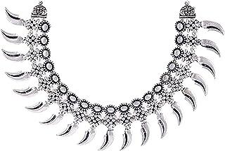 Saissa Silver Tone Oxidised Metal Tribal Gypsy Boho Choker Indian Necklace Jewelry For Women
