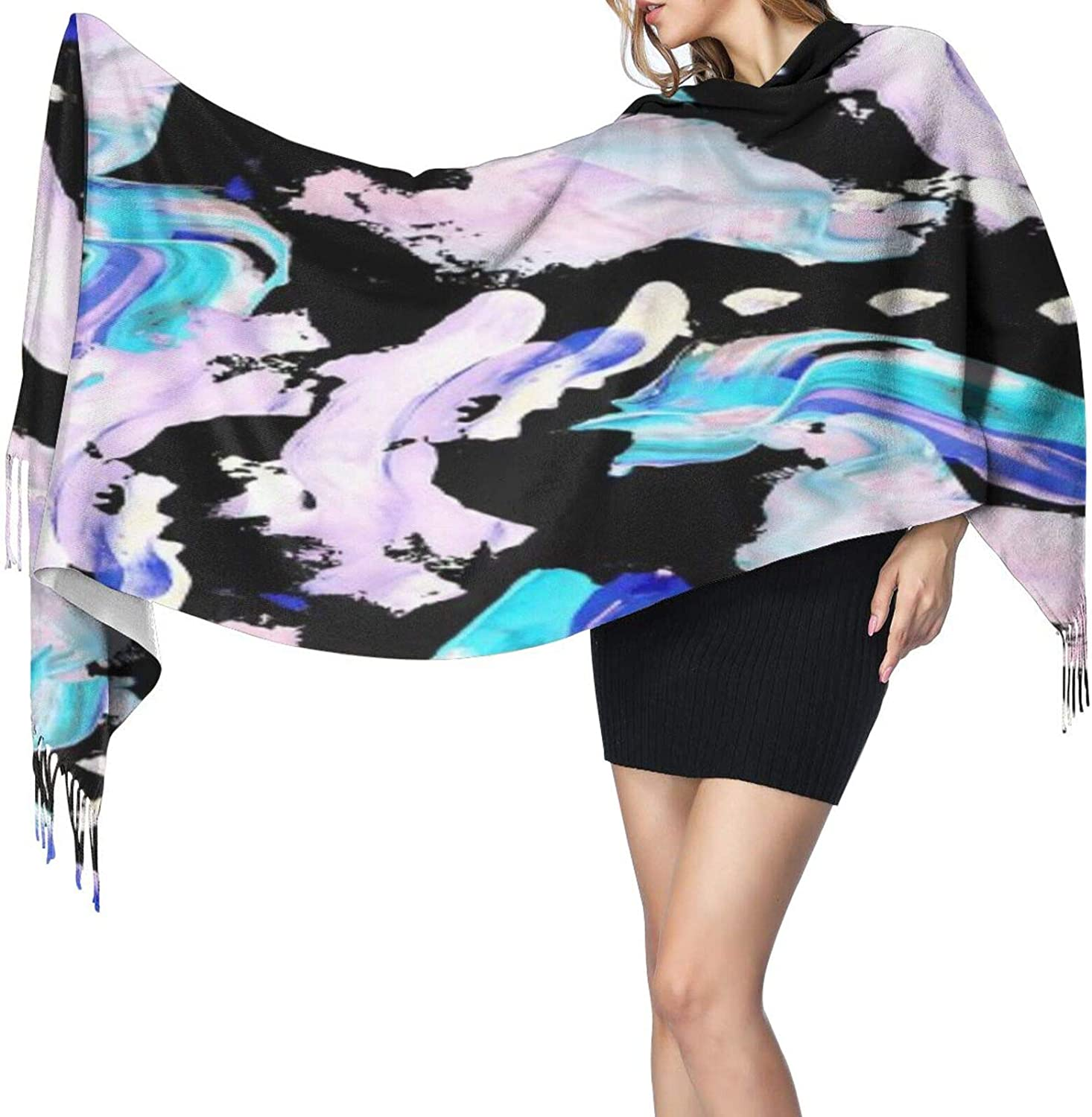 Cashmere fringed scarf seamless paint winter extra large scarf