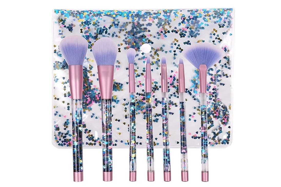 クルーズボスそのGOLDT1 ブレンダースポンジとブラシクリーナー付き7本の液体キラキラクリスタル化粧ブラシセット(ブルーグリッターハンドル) (Color : Blue glitter handle and blue hair)