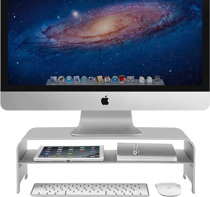 Supporto monitor in alluminio a 2 livelli supporto monitor scrivania fino a 32 pollici per pc, macbook vaydeer B08BFT7VFJ