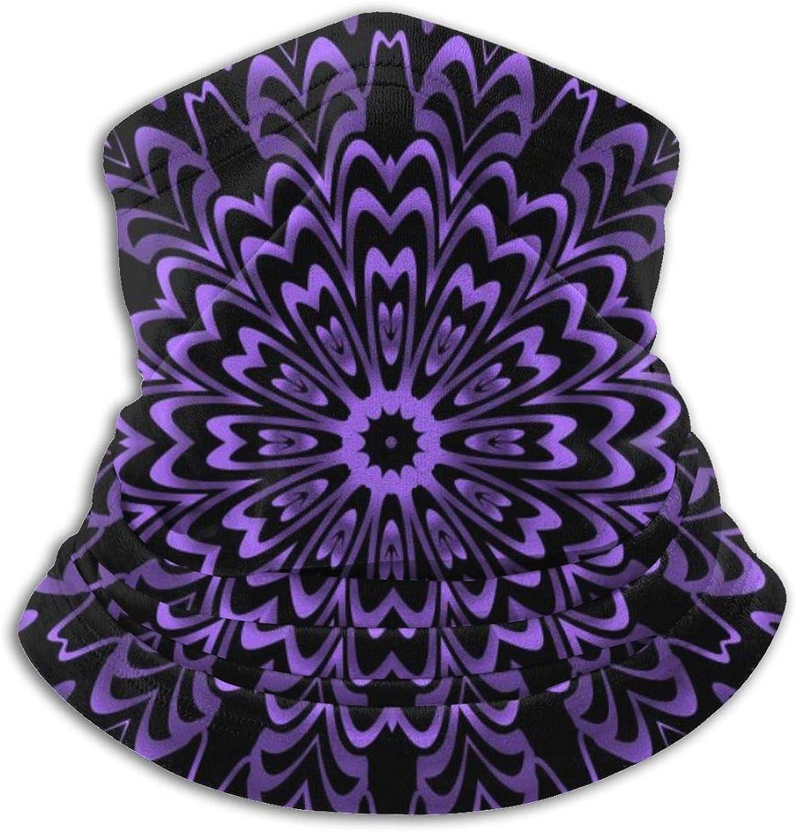 SLHFPX Neck Gaiter Face Mask Geometric Flower Purple Black Half Balaclava Ski Masks for Women Men Adult