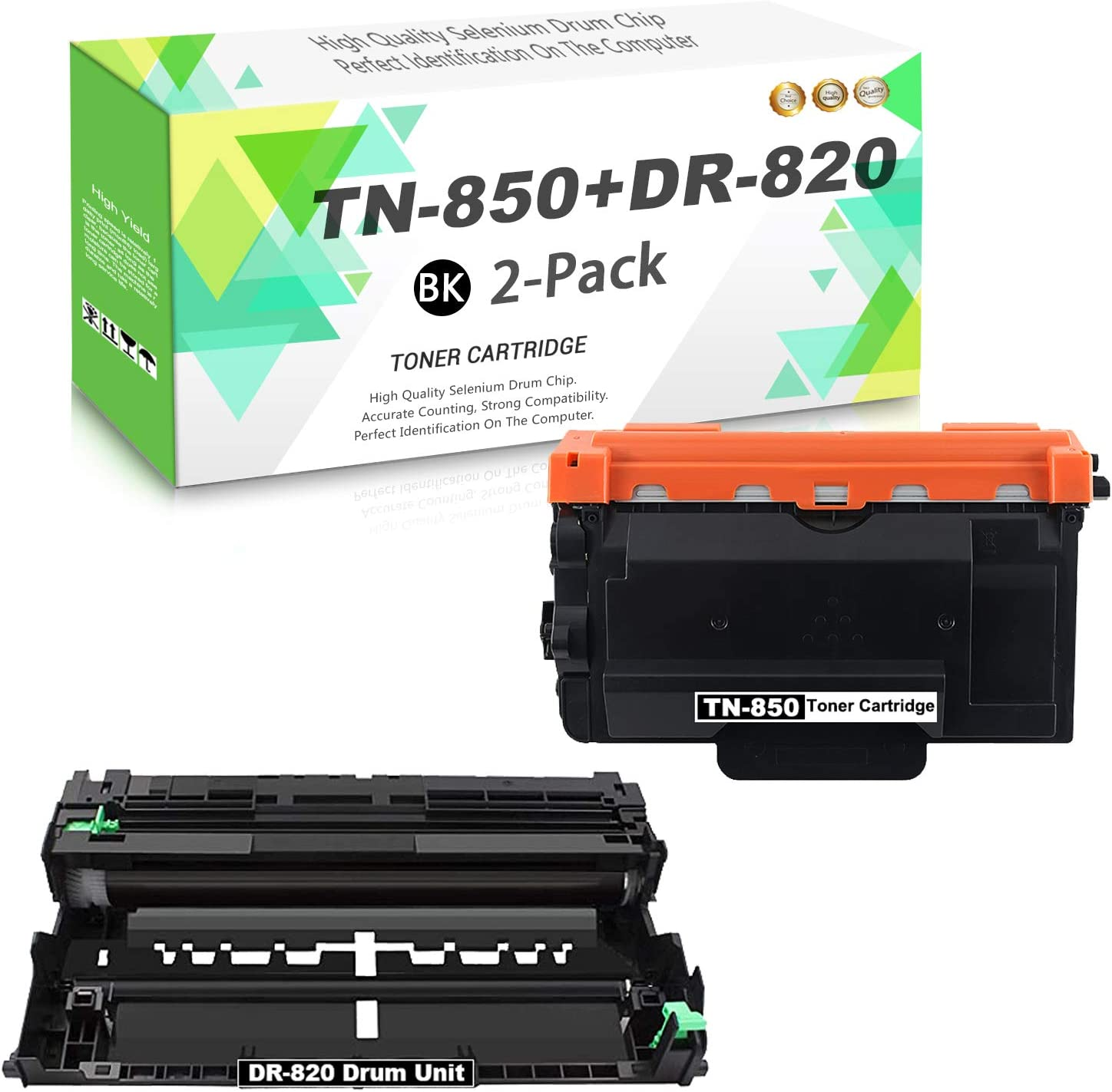 TN-850 Toner Cartridge DR-820 Drum 2-Pack Outstanding 1 T High Pack Yield Genuine Free Shipping