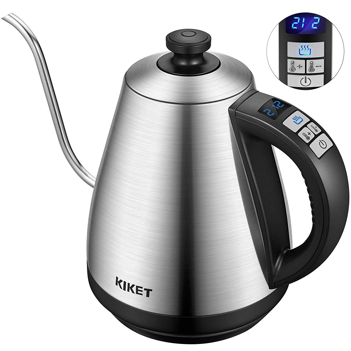 Electric Kettle Temperature Control Gooseneck Kettle Electric with LED Display, Pour Over Coffee Kettle Stainless Steel Water Boiler by KIKET, 1000W