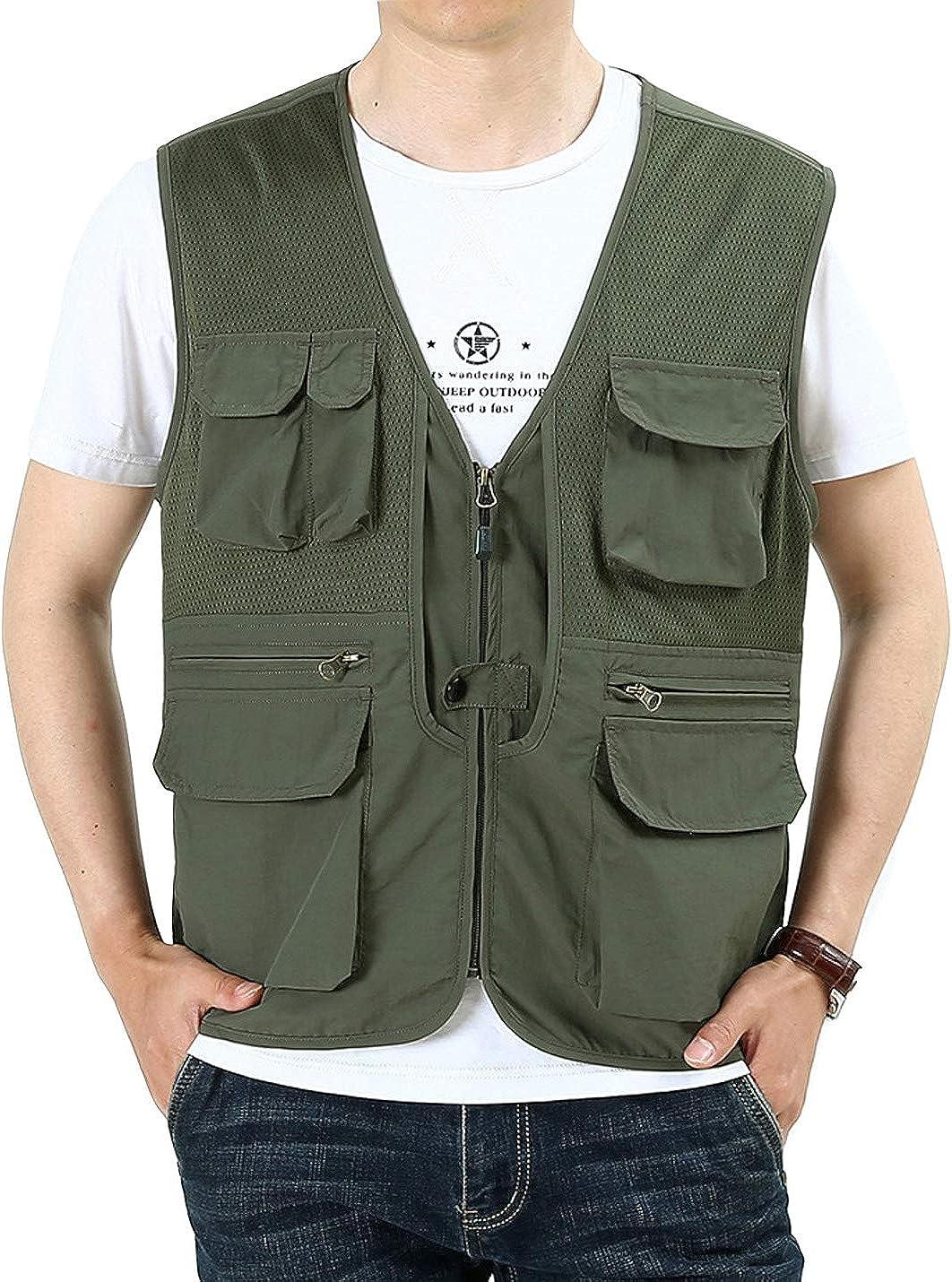 Gihuo Men's Casual Safari Travel Fishing Mesh Zip Vest Outdoor Waterproof Utility Vest Gilet