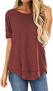 Women's Casual Short Sleeve T-Shirts Cotton Tee Tops Loose V-Notch Tunic Tops