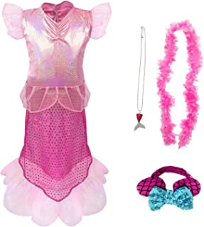 Princess Mermaid Costume for Girls Ages 3-6, Mermaid Dress Up Costume Set 4PCS