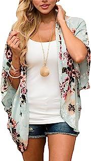 Kordear Floral Kimono Cardigan- Damen Sommer Cardigan, Florale Kimono mit Boho-Print Strand Chiffon Bluse Tops Casual Strand Cover Up für Urlaub