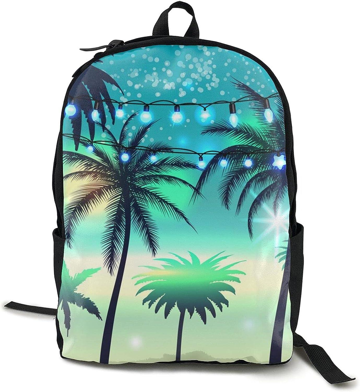Spring new work Summer Night Palm Backpack College Bookbag Light Travel Very popular Mountain