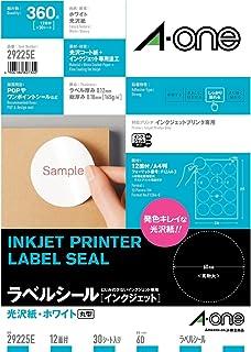 【Amazon.co.jp限定】 エーワン ラベルシール 光沢紙 12面 丸型 29225タイプ 30シート