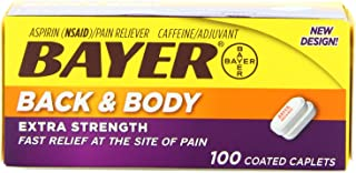 Bayer Extra Strength Back & Body Caplets 500mg, 100-Count Caplets