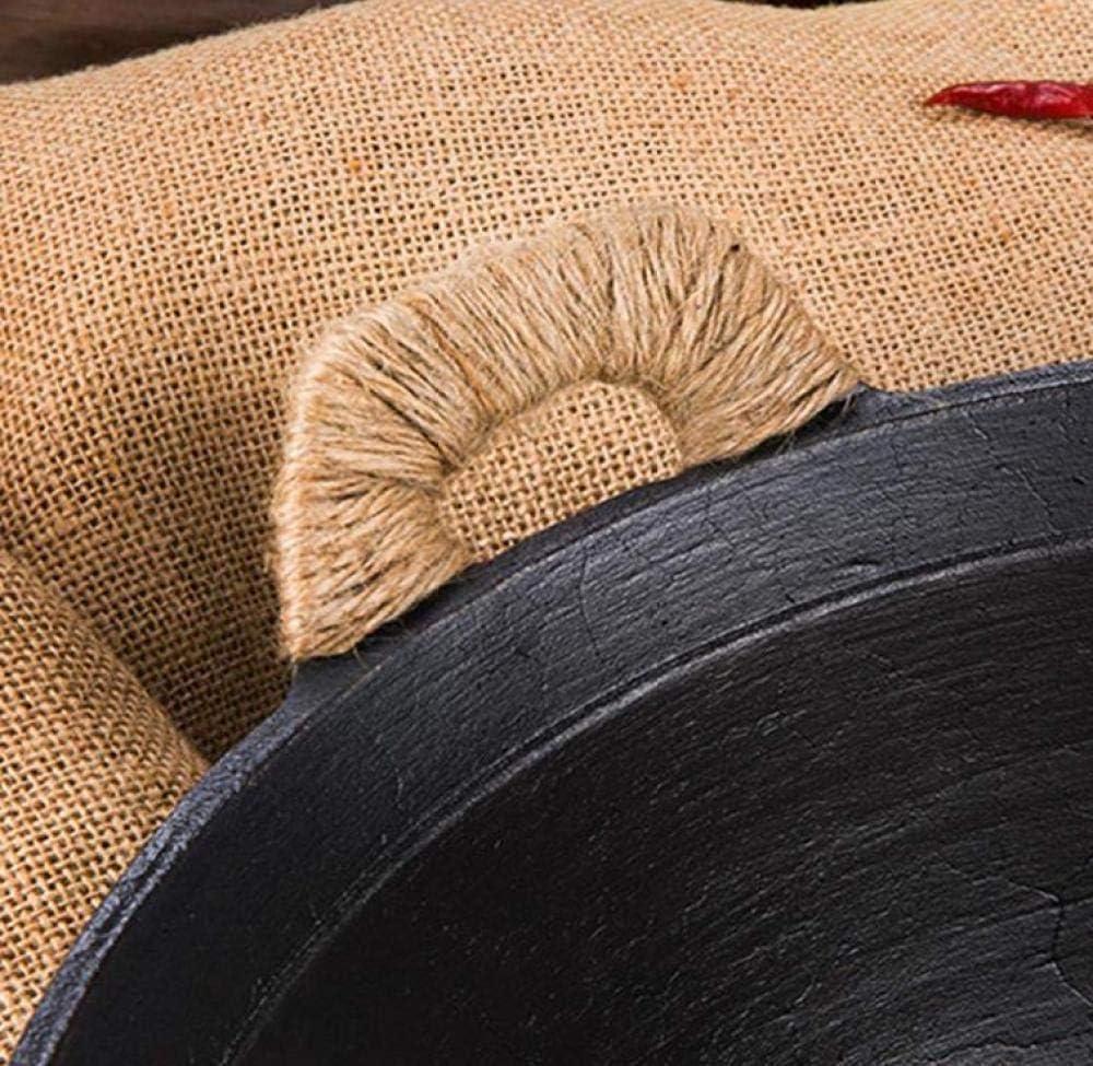 GPWDSN Wok/poêle en Fonte - Pot Traditionnel en Fer Enduit antiadhésif Fait à la Main, matériau en Fonte anodisé Dur, Woodencover-38 Nocover