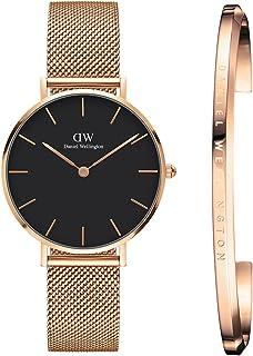 8ed1f483b5f Daniel Wellington Petite Melrose Analogue Black Dial Women s Watch 32Mm   Rose  Gold Cuff Combo -