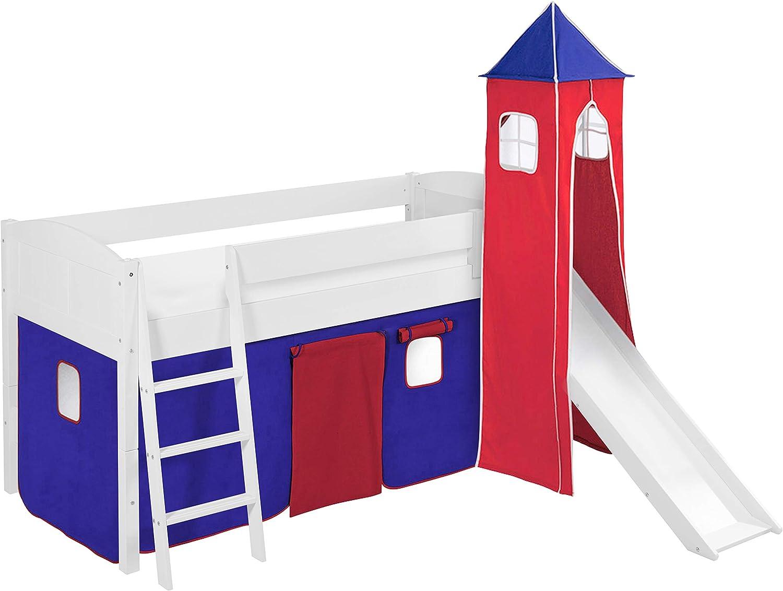 Lilokids Spielbett IDA 4106 Blau Rot - Teilbares Systemhochbett wei - mit Turm, Rutsche und Vorhang
