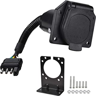 YONHAN 4-Way Flat Truck to 7-Way Blade Trailer Light Adapter Reverse Plug Connector with Mounting Bracket for Towing Solutions